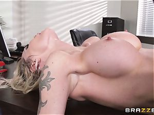dirty secretary Devon is drilled on a desktop