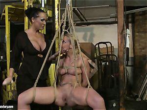 Kathia Nobili and Mandy Bright fake penis screwing firm