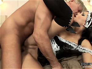 black-haired hoe gets ravaged firm by an senior boy
