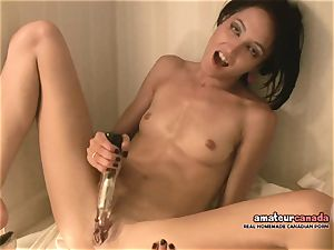 lean French woman with little mounds blows a load using ben