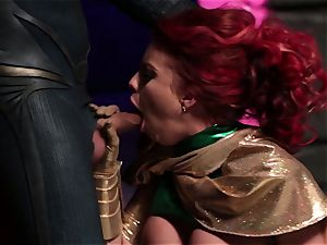 Britney Amber gargles off a insatiable superhero