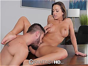 brown-haired Abigail Mac deep-throating fuckpole
