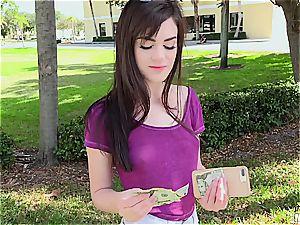 bony dark haired hottie flashes little jugs for cash
