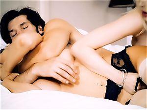 Jasmine Jae spanking torrid platinum-blonde maid Tamara Graceass after hotwife on the spouse