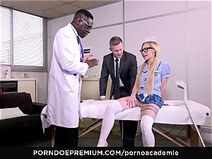 pornography ACADEMIE - anal invasion threesome with platinum-blonde college girl