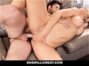 SheWillCheat cuckold wifey Gags on manhood