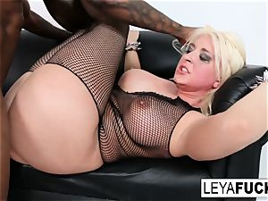 torrid massive tittie blond Leya gets her culo romped
