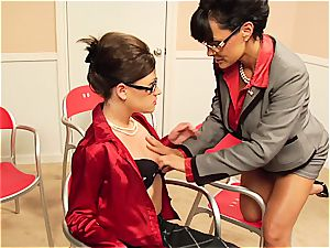 Lisa Ann taunting her coworker's fur covered snatch