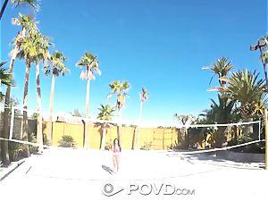 POVD Backyard badminton ass fucking smash with Anissa Kate