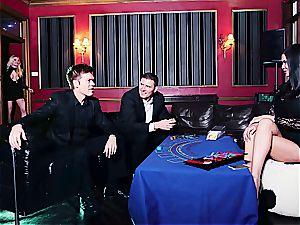 3 super-steamy tarts sharing spunk in the casino