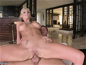 buttfuck paramour Phoenix Marie bounces her booty on a yam-sized pipe